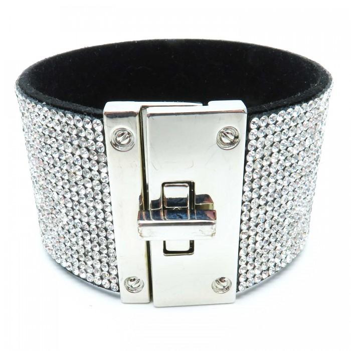 Breites Strass Armband Länge 19cm als Modeschmuck
