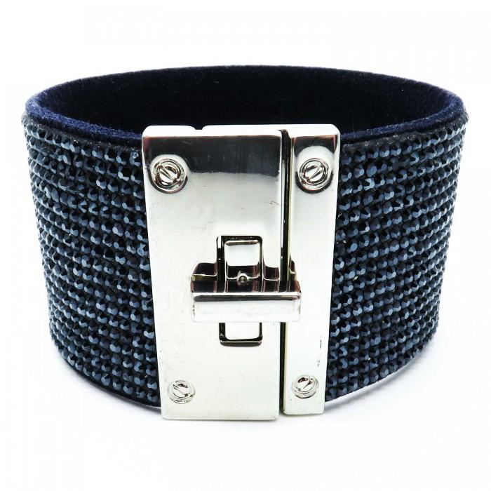 Breites schwarzblaues Strass Armband Länge 19cm als Modeschmuck