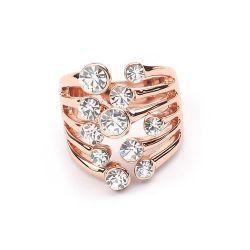Rosegold Ring mit transparentem Strass Modeschmuck Fingerring