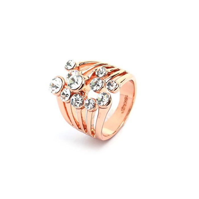 Rosegold Ring mit transparentem Strass Modeschmuck Fingerring