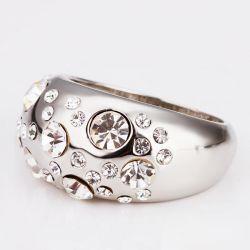 Ovaler silber Ring mit transparentem Strass Modeschmuck Fingerring
