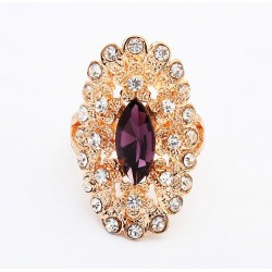 Rosevergoldeter Strass Ring mit amethystfarbenem Stein Modeschmuck Fingerring