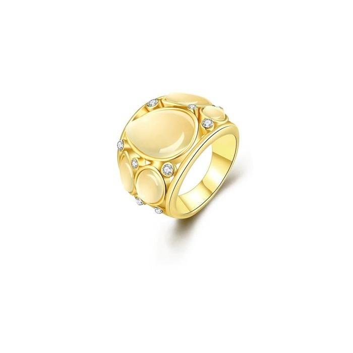 Goldfarbener Ring mit schlichten Cateye Steinen Modeschmuck Fingerring