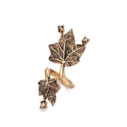 Antikgold Wickelring mit filigranen Blättern und topazfarbenem Strass als Modeschmuck Fingerring