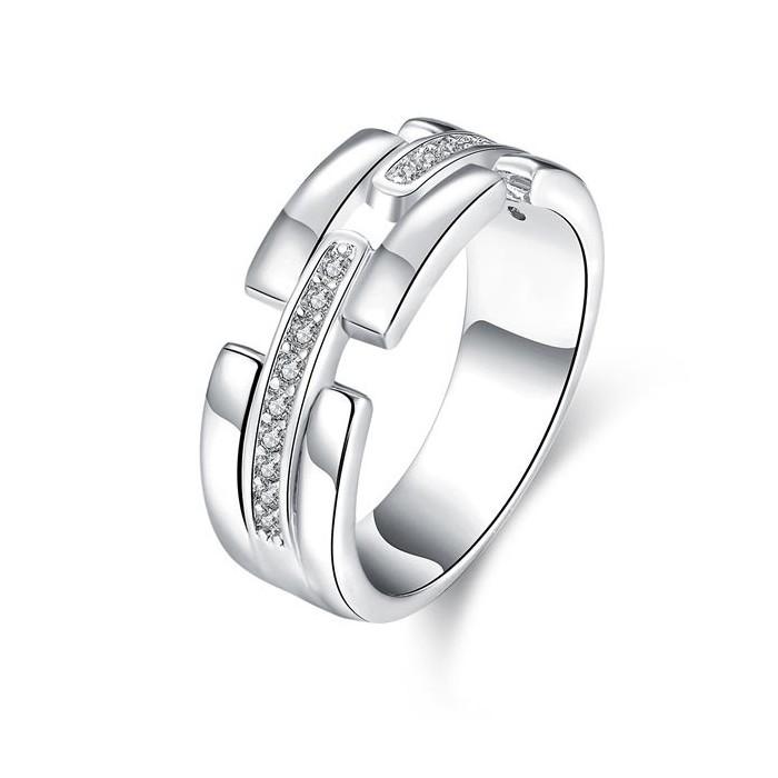 Eckiger versilberter Ring mit transparentem Strass Modeschmuck Fingerring