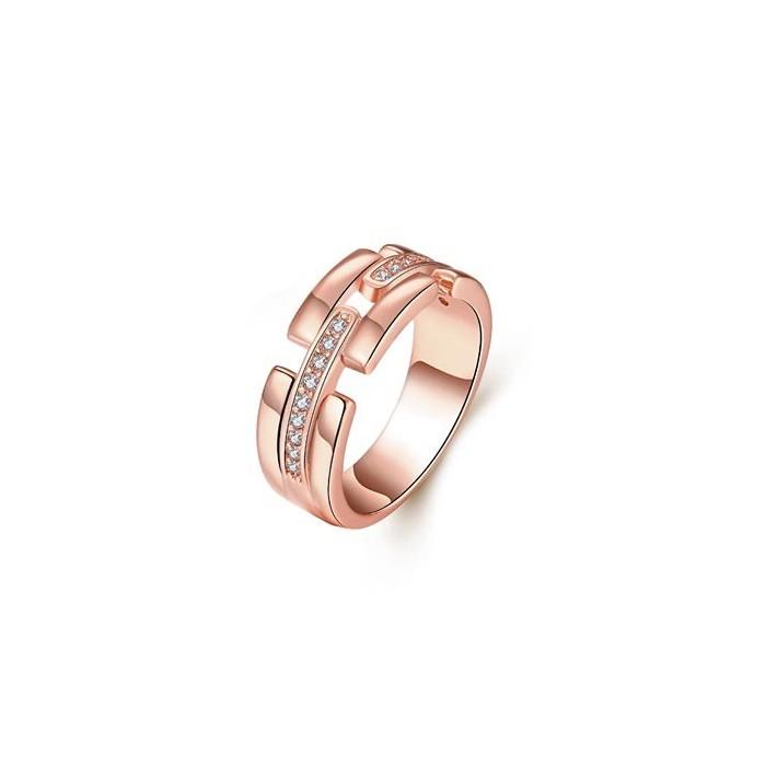Filigraner rosegold Ring mit transparenten Zirkonen als Modeschmuck Fingerring