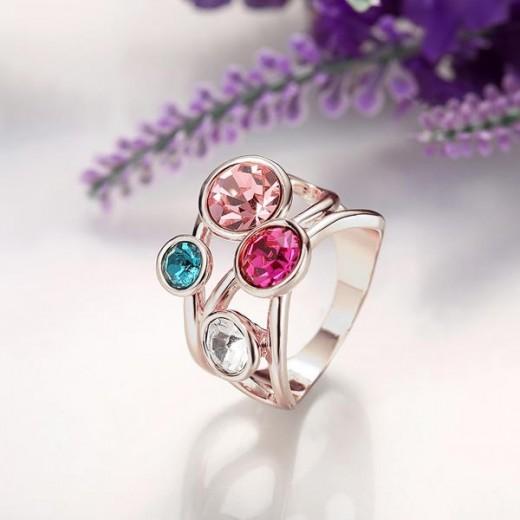 Filigraner silber Ring mit bunten Strasssteinen als Modeschmuck Fingerring