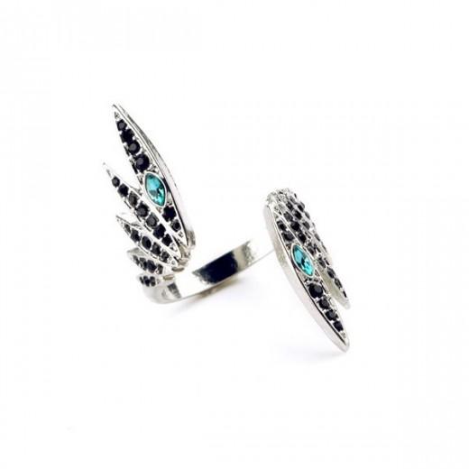 Filigraner silber Ring in Flügelform mit türkis Strass als Modeschmuck Fingerring