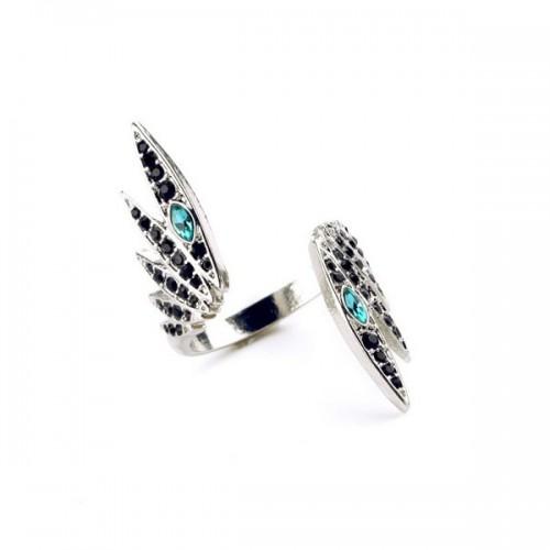 Filigraner silberfarben Ring in Flügelform mit türkis Strass als Modeschmuck Fingerring