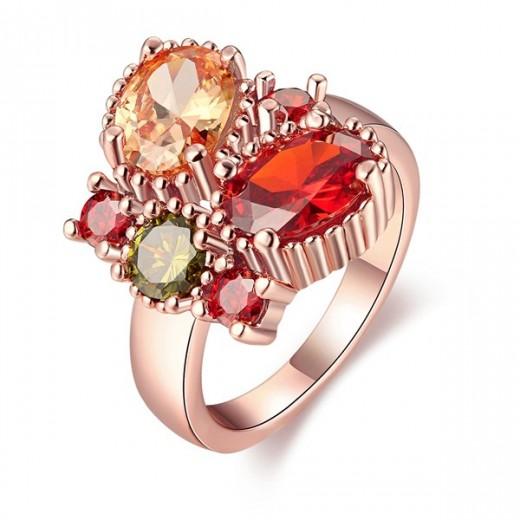 Echt rosevergoldeter Zirkon Ring mit verschiedenfarbigen Steinen Modeschmuck Fingerring