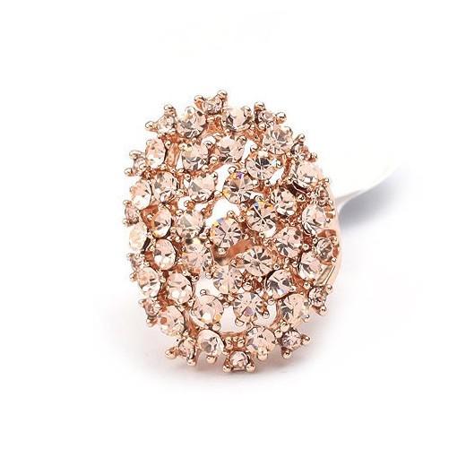 Opulenter, ovaler rosegold Ring mit rose light Strasssteinen Modeschmuck Fingerring