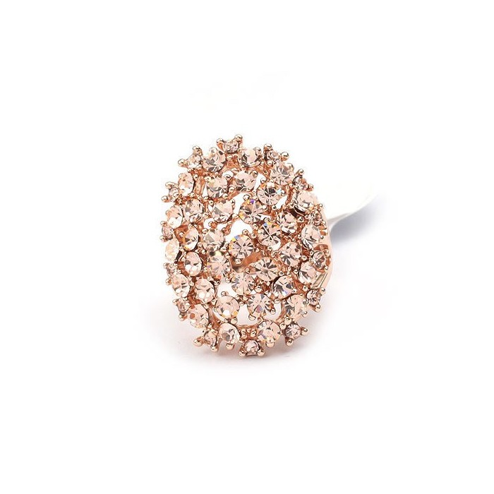 Opulenter, ovaler rosegold Ring mit rose light Strasssteinen Modeschmuck Fingerring