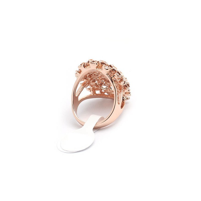 opulenter rosegold ring mit hellrosa strass modeschmuck fingerring. Black Bedroom Furniture Sets. Home Design Ideas